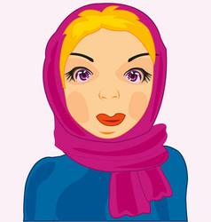 Girl in kerchief vector