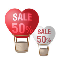Heart two balloon sell promotion vector