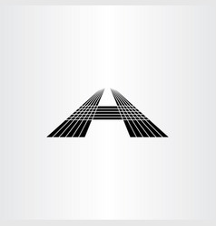 Letter a perspective black icon vector