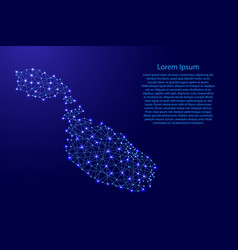 Map of malta from polygonal blue lines vector