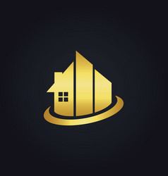 Gold building realty company logo vector