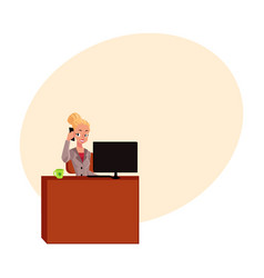 young blond businesswoman secretary answering vector image