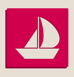 Sail boat sign grayscale version of vector