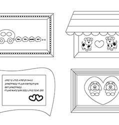 Linear cute cartoon frames about love1 01 vector