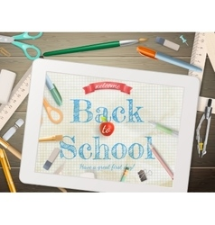 Back to school with tablet eps 10 vector