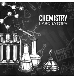 Chemistry laboratory chalkboard background vector