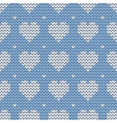 Tile knitting pattern with white hearts on blue vector