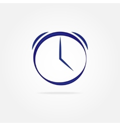 Blue clock with simple lines vector