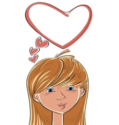 Girl with love on her mind vector