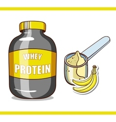 Jar with banana protein vector