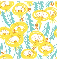 Floral seamless pattern with doodle dandelions vector