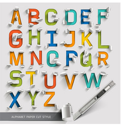 Alphabet paper cut colorful font style vector image vector image