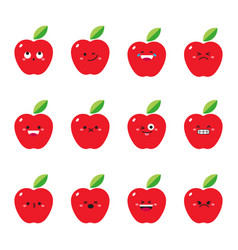 Apple modern flat emoticon set vector