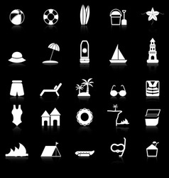 Beach icons with reflect on black background vector