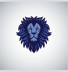 blue lion mascot logo design vector image