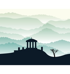 Building stands on a hill vector