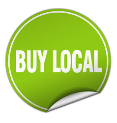 Buy local round green sticker isolated on white vector