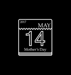 calendar of mothers day 14th may 2017 vector image vector image