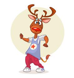 cartoon deer dancing vector image