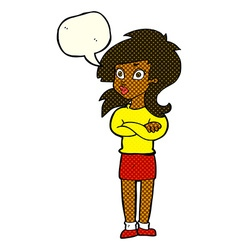 Cartoon woman with folded arms with speech bubble vector