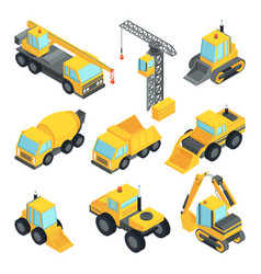 different technic for construction isometric cars vector image