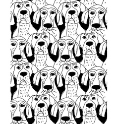 Dogs characters emotions black and white seamless vector image vector image
