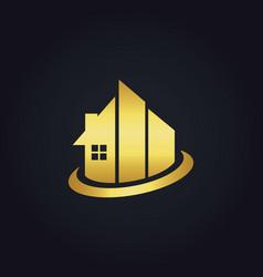 Gold building realty company logo vector