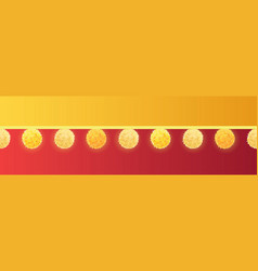 Golden yellow on red decorative pom poms vector