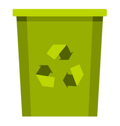 Green bin with recycle symbol icon isolated vector