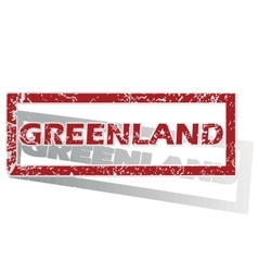 Greenland outlined stamp vector