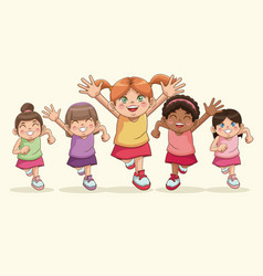 happy children day cartoon girls sweet smiling vector image vector image