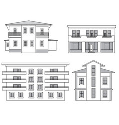 Houses building facade set vector