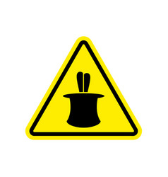 magic trick warning sign yellow hazard attention vector image vector image