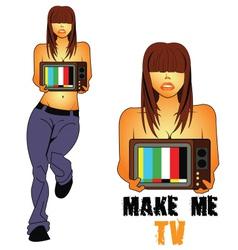 Make-me-TV vector image vector image