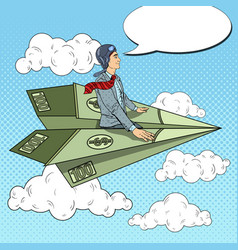 Pop art businessman flying on dollar paper plane vector