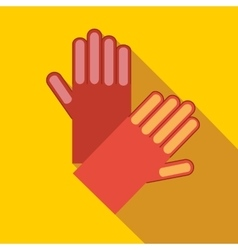 Red garden gloves icon flat style vector