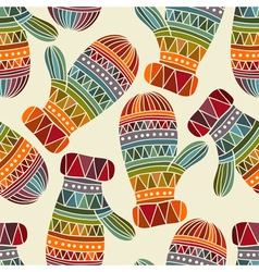 Seamless winter christams pattern with bright mitt vector