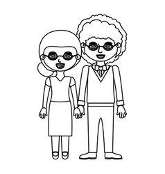 sketch silhouette elderly couple woman with vector image vector image