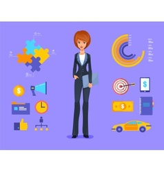 Smiling business woman of cartoon boss manager vector image