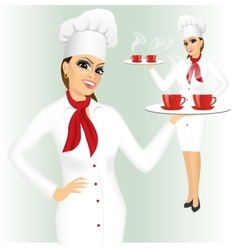 Smiling female chef with two cups of tea vector