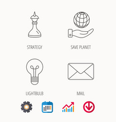 Strategy save planet and mail envelope icons vector