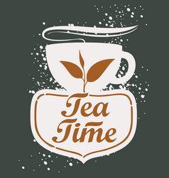 tea cup with lettering vector image vector image