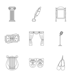 Theatrical performance icons set outline style vector