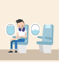 Trendy bearded man sleeping on the plane vector