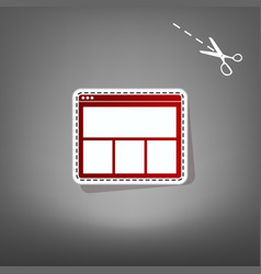 Web window sign red icon with for vector