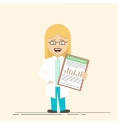 Female doctor or nurse with a clipboard in his vector