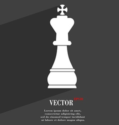 Chess king symbol flat modern web design with long vector