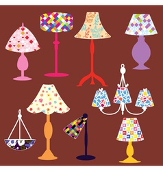 Lighting lamps set vector