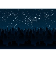 Starry night sky silhouette of the city eps 10 vector