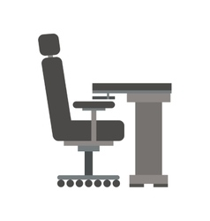 Gray scale silhouette with desk and chair office vector